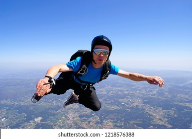 Skydiver with casual clothing