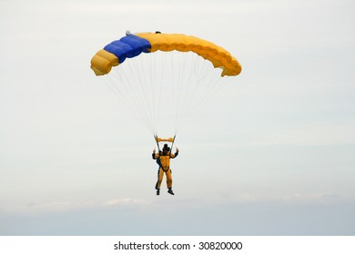 Skydiver coming into land