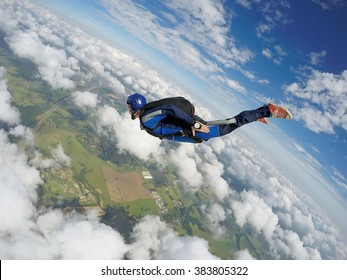 Skydiver dive to the earth.