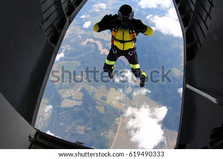 Skydiver at the exit