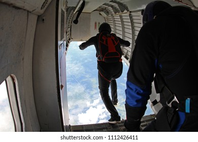Skydiver has done first step into the sky.