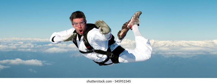 Skydiver performing karate kid position