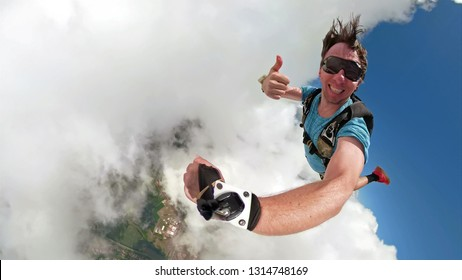 Skydiver selfie with a fish eye lens