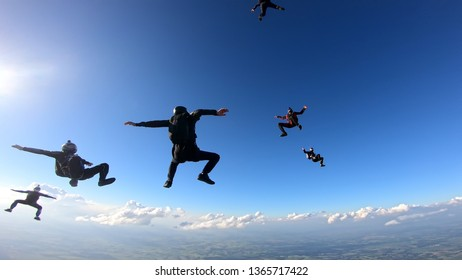 Skydivers having fun