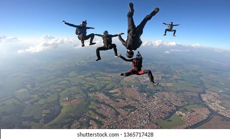 Skydivers having fun