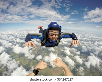 Skydiving caucasian man