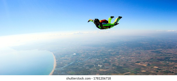 Skydiving free fall man. Space games