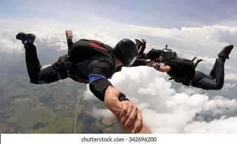 Skydiving friends having fun