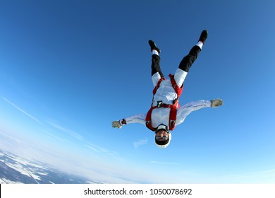 Skydiving. Head down flight.