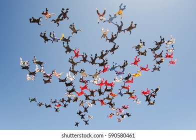Skydiving large group formation low angle view