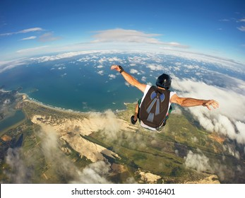 Skydiving over the beach, Santa Catarina, Brazil