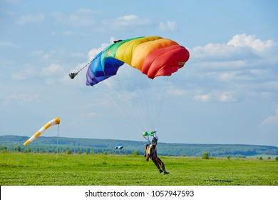 skydiving, parachute, blue sky view