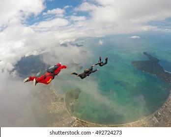 Skydiving in paradise, Ubatuba beach, Brazil