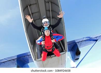 Skydiving. Summer tandem jump.