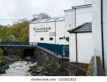 skye island, Scotland. October 26, 2017. Talisker distillery