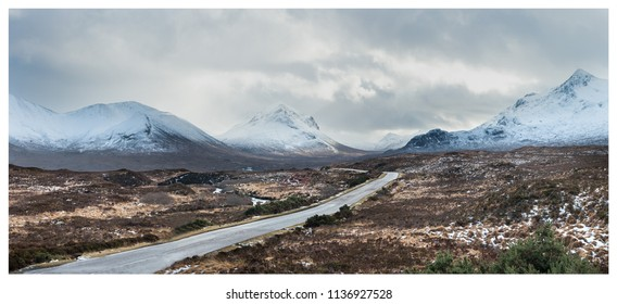 Skye, Scotland. A wintery panoramic view down the A87 looking south. Feb 2018