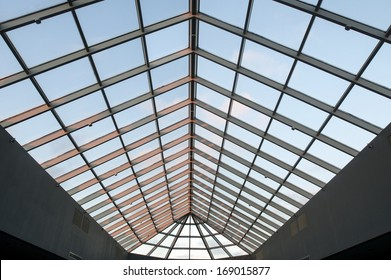 Skylight ceiling at dusk in commercial office or industrial building