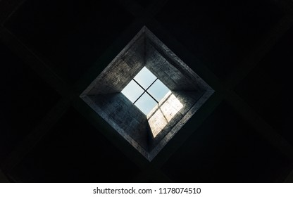 skylight in a dark room