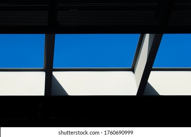 skylight divided into three parts laying the sky