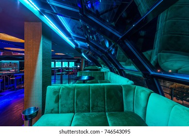 Skylight and sofa in luxury discotheque interior