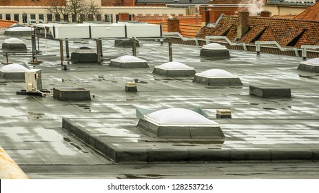 Skylights on the roof of a department store in the city centre, Germany