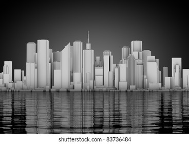 skyline of an abstract city