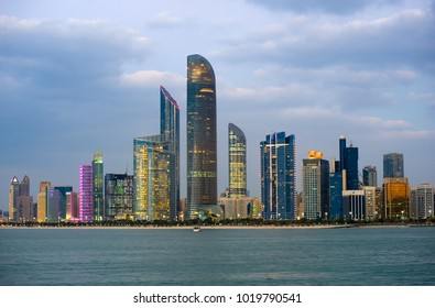 Skyline of Abu Dhabi in the beginning of the twilight