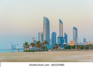 Skyline of Abu Dhabi during sunset