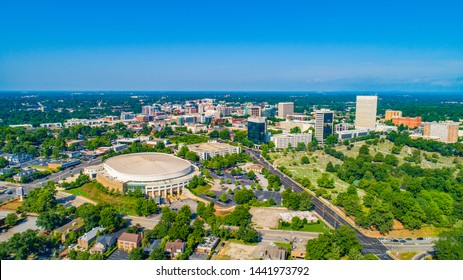 Skyline Aerial of Downtown Greenville South Carolina.