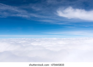 skyline aerial view from airplane, cloudscape landscape