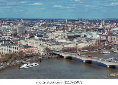 Skyline and aerial view of cityscape of London with Waterloo Bridge crossing the river Thames in London, England, United Kingdom