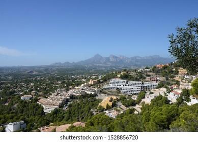 The skyline of Albir and Benidorm in the province of Alicante, Costa Blanca, Spain, Okotber 9, 2019
