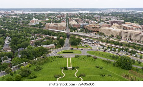 The skyline of Alexandria, Virginia, including Old Town Alexandria and the Potomac River, as seen from the George Washington Masonic Temple.