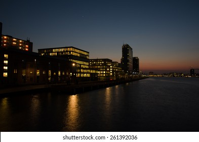 Skyline of Amsterdam sunset