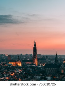 Skyline of Antwerp, Belgium with the cathedral during sunset.