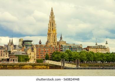 Skyline of Antwerp, Belgium at the river Scheldt