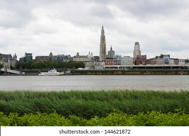 Skyline of Antwerp with the Cathedral of Our Lady at the Scheldt river