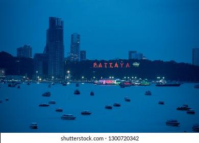 the skyline and the ao Pattaya Bay in the city of Pattaya in the Provinz Chonburi in Thailand.  Thailand, Pattaya, November, 2018