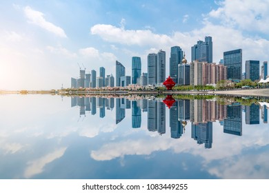 The skyline of the architectural landscape of Qingdao City Squar