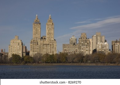 Skyline around Central Park Jacqueline Kennedy reservoir