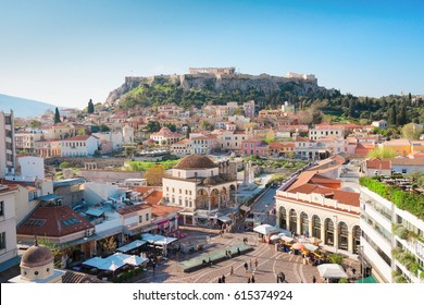 Skyline of Athens with Moanstiraki square and Acropolis hill, Athens Greece