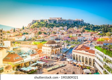 Skyline of Athenth with Moanstiraki square and Acropolis hill, Athens Greece