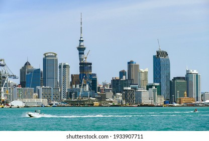Skyline of Auckland, a large city in the North Island of New Zealand