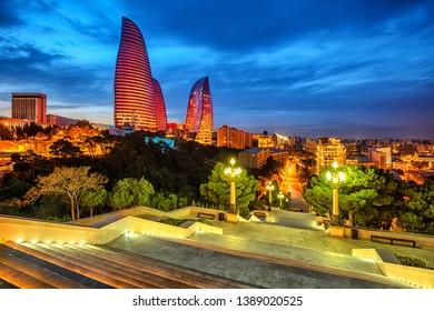 Skyline of Baku city, Azerbaijan, night view