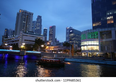 the skyline at the Bank quater at the Singapore River and Marina Bay in the city of Singapore in Southeastasia.    Singapore, December, 2009