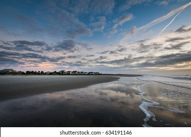 Skyline of beach homes at Isle of Palms, in Charleston South Carolina at sunrise