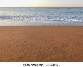Skyline. Beach of Mediterranean Sea in the morning. Side-Titreyengol. Antalya province. Turkish riviera
