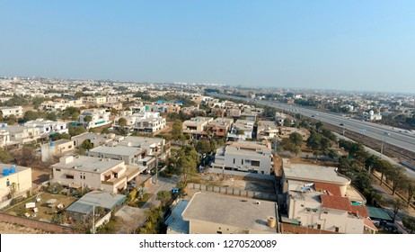 Skyline of beautiful city of Lahore, Pakistan - New housing development and ring road around Lahore.