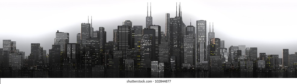a skyline of a big imaginated city