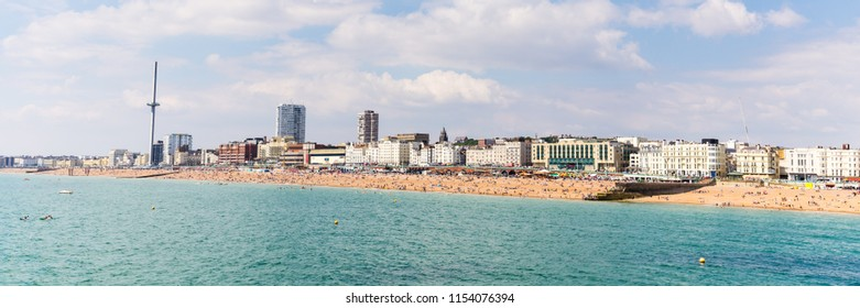 Skyline of  Birghton, East Sussex, England, UK with the  i360 tower during a sunny summer day.